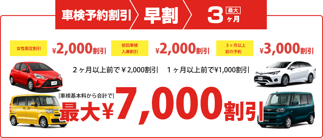 車検予約割引最大3ヶ月7000円割引